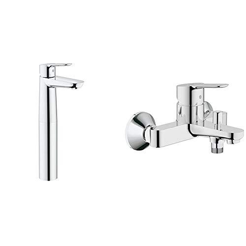 Grohe BauEdgeGrifo de lavabo, cuerpo liso, con sistema de fácil instalación + BauEdgeGrifo para ducha y baño con sistema de montaje en pared e inversor automático