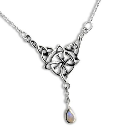 Sterling Silver Celtic Knot Four Point North Star with Genuine Rainbow Moonstone Drop 17' Adjustable Necklace