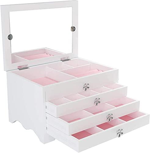 Serrale Joyero Organizador de joyas de madera con 3 cajones Cuatro capasForro de terciopelo Caja de almacenamiento Regalo para anillos Pulseras (Blanco)