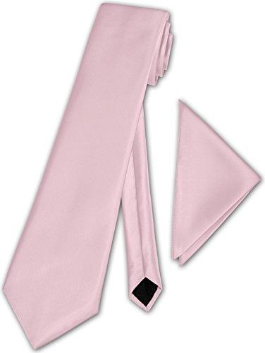 Herren Krawatte klassisch mit Einstecktuch Klassik Anzug Satinkrawatte - 30 Farben (Puderrosa)