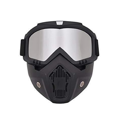 JYYC Schutzbrille Offroad-Schutzbrille Motorradbrille Helmbrille Taktische Schutzbrille Ski Windschutzscheibe, Silber