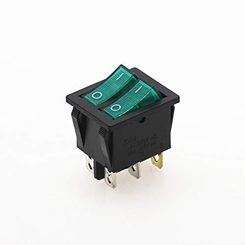 WHHHuan 1pc Doble basculante de conmutación 6 Pin On-Off Luz con Verde Rojo 20A 125VAC (Color : Verde)