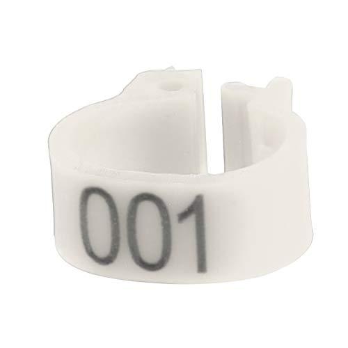 Sheens 100 Teile/Beutel Vogel Bein Bänder Ringe, Kunststoff Geflügel Bein Bänder Langlebig Clip-on Ring für Vogel Küken Enten Huhn(Weiß)