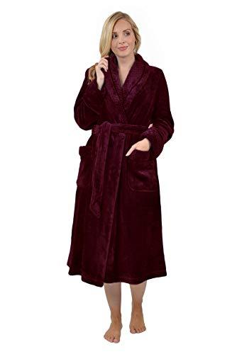 RAIKOU Kuschel weicher Bademantel Hausmantel, Loungewear Saunamantel für Damen, aus luxuriösem Flausch Coral Fleece auch als Morgenmantel perfekt(Weinrot, 48/50)