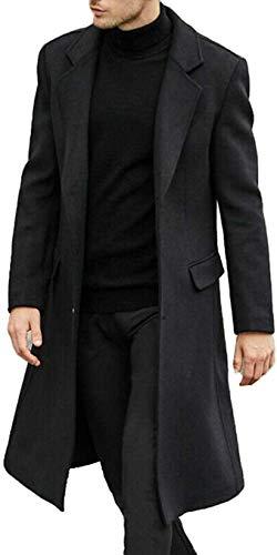Aelle Abrigo largo de lana para hombre, de PEA, gabardina de invierno, corte ajustado, de negocios, de calidad Negro XXL