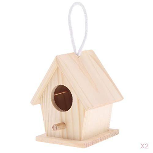 Fenteer 2 Stü Natürliche Holzhaus Papagei Vogel Sitzstangen Sittich Hängenden Nistkasten