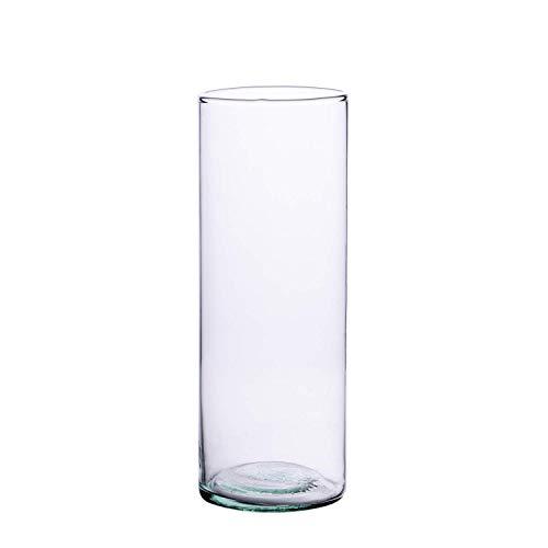 Ladna - Jarrón cilíndrico de Cristal Reciclado Hecho a Mano (30x 9...