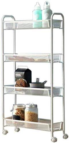 AOLI Scaffale, Bookshelf Bookshelf ruote possono spostare salvaspazio Cd Album Libro Holder Camera Ufficio Soggiorno, 4 piani,bianca,A