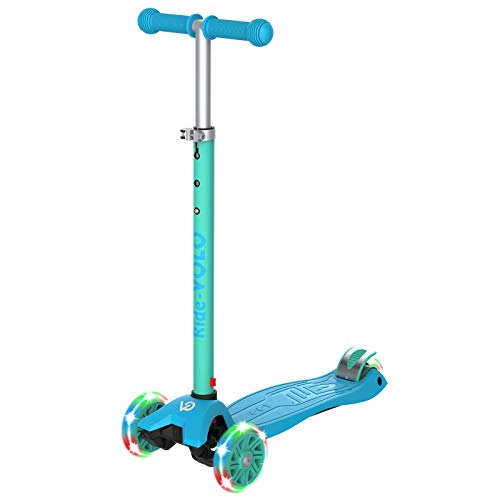 RideVOLO キックスクーター 子供向けキックボード 三輪車 3段階高さ調整 光るLEDタイヤ 耐荷重50kg アウトドアに適用 おもちゃ 安定 緑