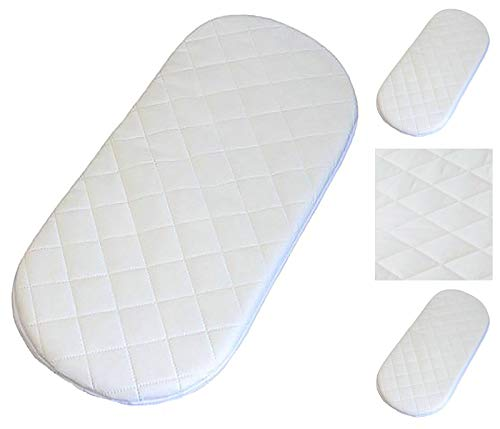 Microfibre Hypoallergenic Moses Basket Mattress 74X30 x 4cm Thick Oval Shaped (Baby Product