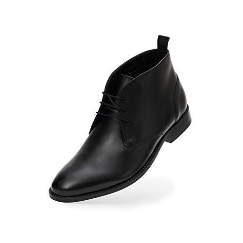 FRETZ men Sven Desert Boots | Schwarze Leder Schnürschuhe für Herren | für Business- und Casual-Outfits, Anzug & Jeans | hochwertiges Rindsleder, modisches schwarz | Größe 42