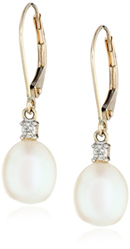 10k Yellow Gold Freshwater Cultured Pearl with Diamond Accent Drop Earrings (8-8.5 mm)