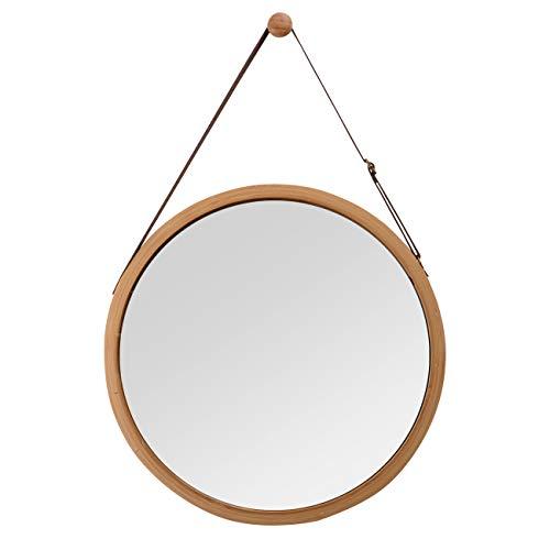 ZRI Bamboo Wandspiegel Rund Flur Spiegel Badspiegel mit Verstellbarer Ledergürtel 38cm (braun, 38 cm)