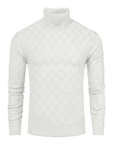 COOFANDY Men's Slim Fit Turtleneck Sweater Casual Knitted Christmas Pullover Sweater (White, X-Large)