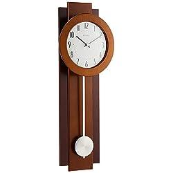 Bulova C3383 Avent Pendulum Deco Wall Clock, 18, Walnut/Mahogany