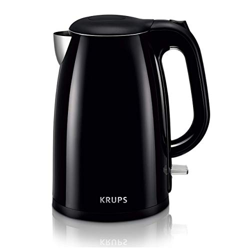 KRUPS BW26 Cool-touch Stainless Steel Double Wall Electric Kettle, 1.5L, Black (Renewed)