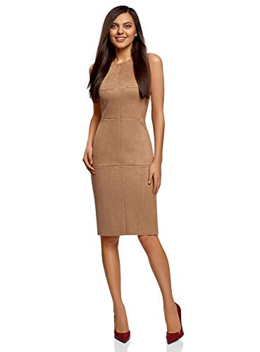 oodji Ultra Damen Tailliertes Kleid aus Wildlederimitat, Beige, DE 38 / EU 40 / M