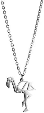 La Menagerie Flamingo Silver Origami Jewelry Silver Geometric Necklace 925 Sterling Plated Silver product image
