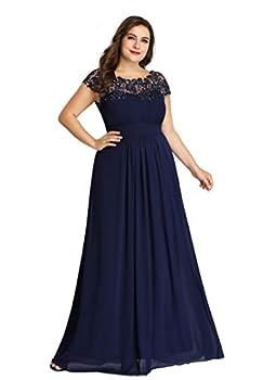 Ever-Pretty Womens Plus Size Rinestone Maxi Formal Evening Dresses Navy Blue US20