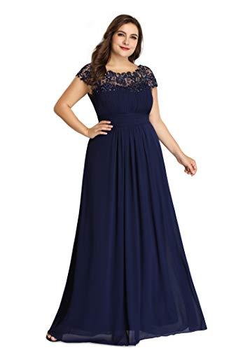 Ever-Pretty Damen Abendkleid A-Linie Spitze Rundkragen rückenfrei Lange Spitzenkleid Navy blau 48