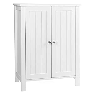 VASAGLE Bathroom Floor Storage Cabinet with Double Door Adjustable Shelf, 23.6 x 11.8 x 31.5 Inches White UBCB60W by VASAGLE