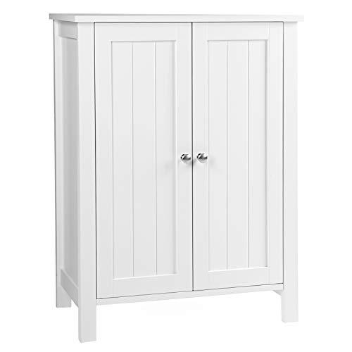 VASAGLE Badezimmerschrank, freistehender Badschrank, Aufbewahrungsschrank mit 2 Türen, mit 2 verstellbaren Regalebenen, weiß BCB60W