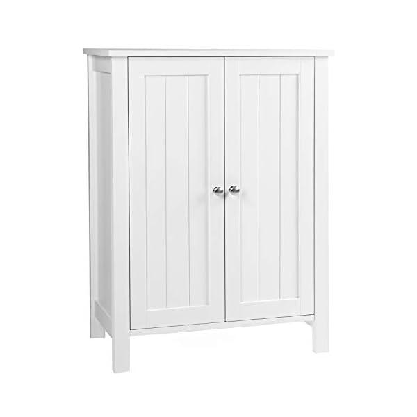 VASAGLE Bathroom Floor Storage Cabinet with Double Door Adjustable Shelf, 23.6 x...