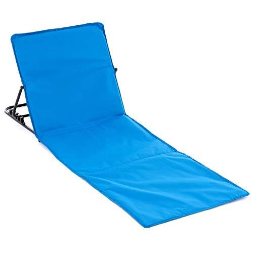 Nexos Strandmatte gepolstert faltbar verstellbare Rückenlehne praktischen Tragegurt Strandliege Beachmatte mit stabilem Stahlgestell blau 158 x 58 cm