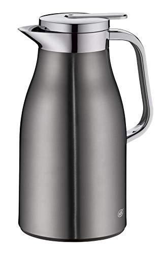 alfi Skyline, Thermoskanne Edelstahl grau 1l mit doppelwandigem alfiDur Vakuum-Hartglaseinsatz. Isolierkanne hält 12 Stunden heiß, ideal als Kaffeekanne oder als Teekanne, für zu Hause oder im Büro
