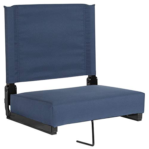 Flash Furniture Grandstand Comfort Seats by Flash with Ultra-Padded Seat in Navy Blue