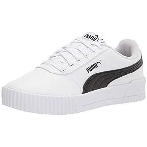 PUMA womens Carina Sneaker, White/Black, 8 US