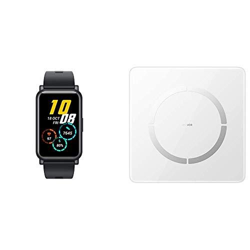 HONOR Watch ES Smartwatch (42mm AMOLED-Display, Herzfrequenzmessung, 50 m wasserdicht, SpO2) Schwarz + HONOR Smarte Körperfettwaage 'Scale 2' mit Bluetooth zur Körperanalyse und App