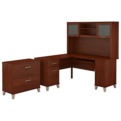 Bush Furniture Somerset 60W L Shaped Desk with Hutch and Lateral File Cabinet in Hansen Cherry