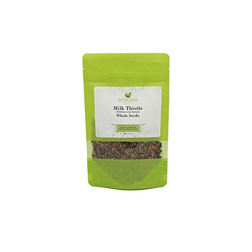 100% Pure and Organic Biokoma Milk Thistle Whole Seeds 100g (3.55oz) in Resealable Moisture Proof Pouch