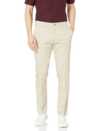 Haggar Men's Premium No Iron Khaki Slim Fit Flat Front Casual Pant, Sand, 32Wx32L