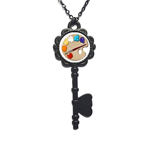 Color Palette Photo Cabochon Glass Pendant Key Necklace Art Picture Handmade Jewelry,Colorful Key Necklace,Artist paintbrushes,Artist Gifts,PU121