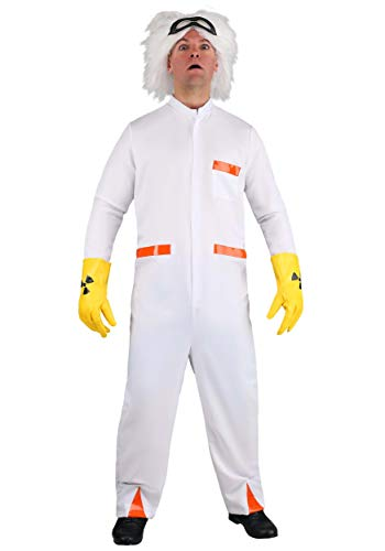 Men's Back to The Future Doc Brown Costume. White jumpsuit with gloves, glasses and wig
