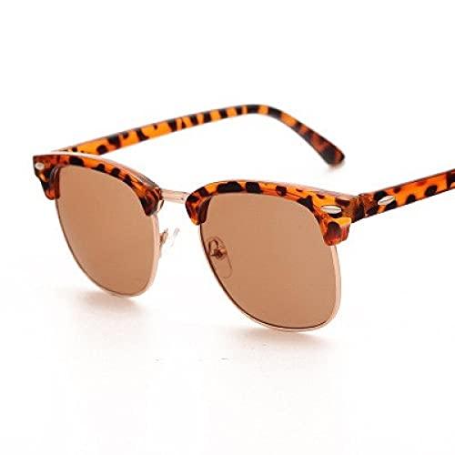 PADQ Gafas de Sol Hombre Mujer Gafas de Sol Hombre Oculos UV400 Gafas Retro leopardtea