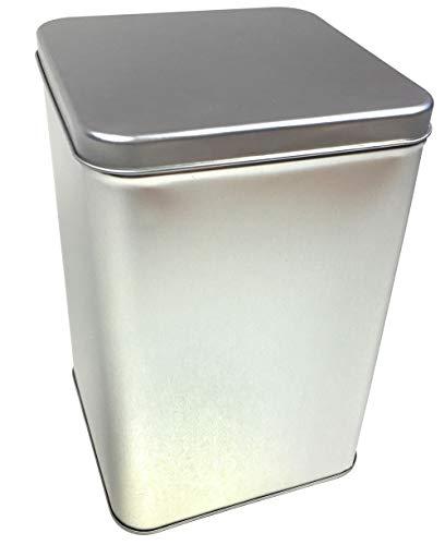 Balna Kaffeedose eckig für 1 kg Kaffeebohnen mit Scharnierdeckel, Große Teedose Metalldose Vorratsdose 14,6 cm x 14,6 cm x 22,0 cm