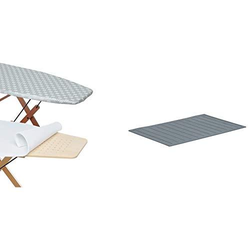 Foppapedretti Copertina con Mollettone Ricambio per ASSE da stito con Piano da 101 x 49 cm & Tappeto Porta Ferro Ricambio per Assai, Grigio