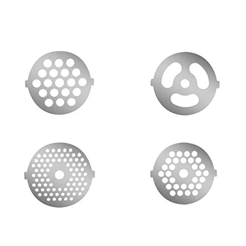 4 Piece Stainless Steel Meat Grinder Plate Discs for Food Chopper and Meat Grinder Machinery Parts,fits KitchenAid FGA Food Meat Grinder Chopper Attachment