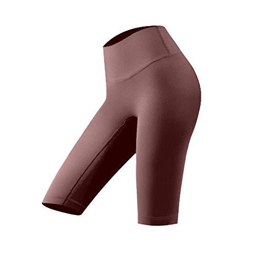 Pantalones Cortos de Yoga elásticos de Color sólido para Mujer, Pantalones Cortos Deportivos Ajustados de Cintura Alta a la Moda, Ropa de Calle con Control de Barriga, Pantalones Cortos Deportivos L