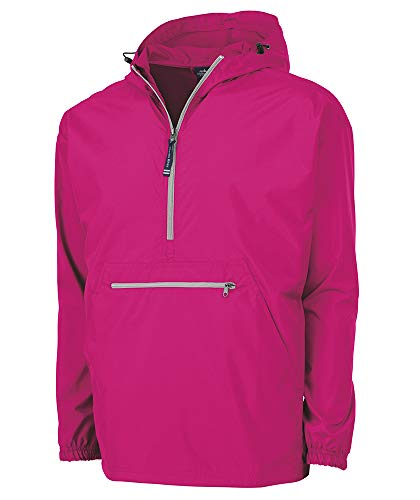 Charles River Apparel Pack-N-Go Wind & Water-Resistant Pullover (Reg/Ext Sizes), Hot Pink, XXL