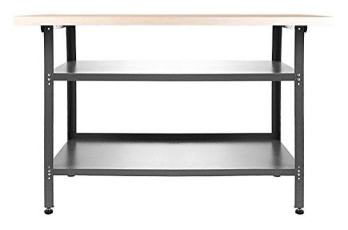Ondis24 Werkstatteinrichtung 120 cm grau Werkbank Basic aus Metall und Lochwand mit Hakensortiment (Arbeitshöhe 85 cm) - 2