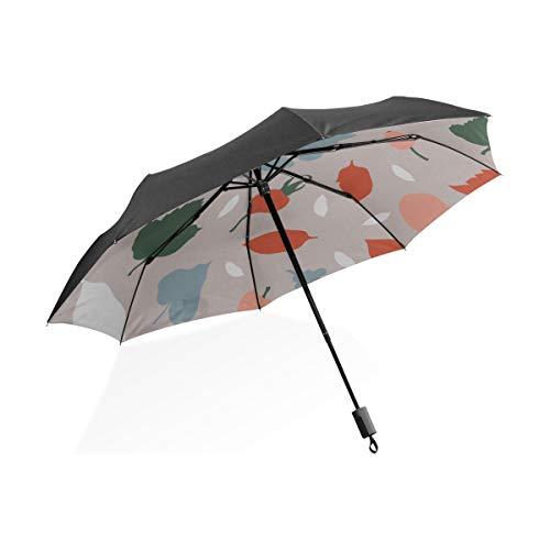 Paraguas para Adultos Arte Fruta Pera Acuarela Pintura Portátil Paraguas Plegable Compacto Protección Anti UV A Prueba de Viento Viaje al Aire Libre para Mujer Reversible Paraguas con Mango en C