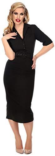 Collectif Damen Kleid Zoeh Vintage Plain Midi Pencil Dress Schwarz S