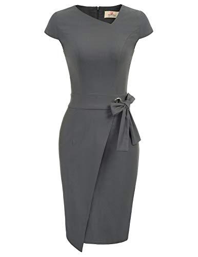 GRACE KARIN Business Kleid Damen grau bleistiftkleid Knielang Retro Kleid CL867-2 M