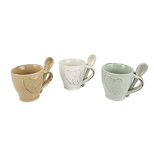 BuyStar Set 6 tazzine caffè con cucchiaino in Ceramica Set Tazze caffè Espresso Coffee con Cuore a Pois Stile Shabby Chic