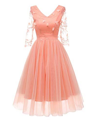 XG-BH Damen elegant Cocktailkleid Unregelmässig Spitzenkleid Vokuhila Abendkleider Party Floral Kleid,Pink,XL