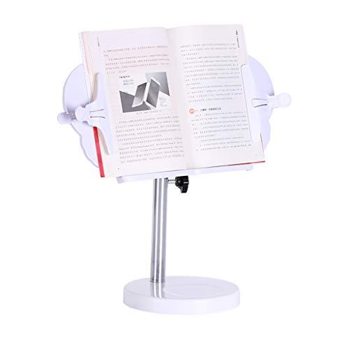 360 Grad drehbarer Buchständer, Leseständer Lesewinkel, Verstellbarer Winkel und Länge Buchhalter mit Buchstütze, weiße Buchklammer